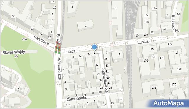 Kraków, Lubicz, 5, mapa Krakowa
