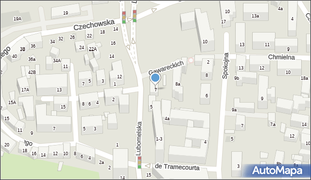 Lublin, Lubomelska, 7, mapa Lublina