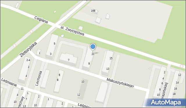 Legnica, Makuszyńskiego Kornela, 11, mapa Legnicy
