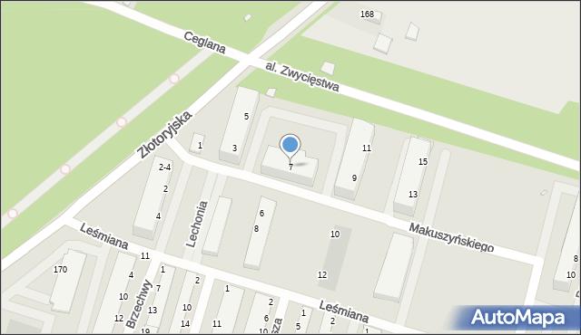 Legnica, Makuszyńskiego Kornela, 7, mapa Legnicy