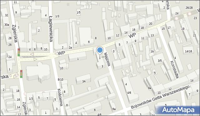 Łódź, Majzela Eliasza Chaima, 1, mapa Łodzi