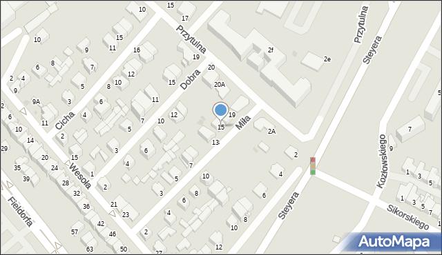 Ostrołęka, Miła, 15, mapa Ostrołęka