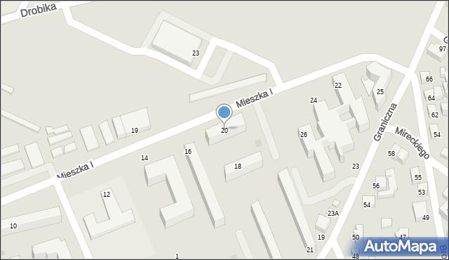 Siedlce, Mieszka I, 20, mapa Siedlce
