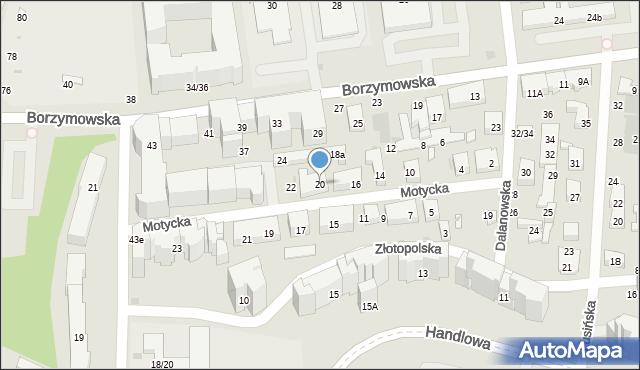 Warszawa, Motycka, 20, mapa Warszawy