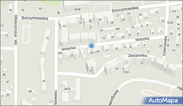 Warszawa, Motycka, 21, mapa Warszawy