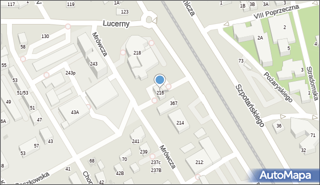 Warszawa, Mrówcza, 216, mapa Warszawy