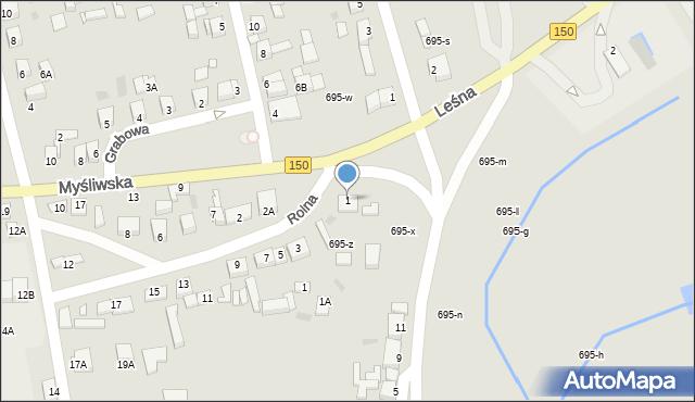 Wronki, Myśliwska, 1, mapa Wronki