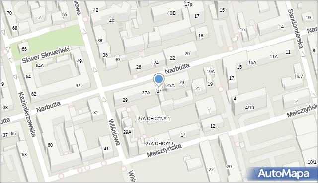 Warszawa, Narbutta Ludwika, 27, mapa Warszawy