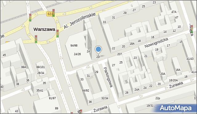 Warszawa, Nowogrodzka, 22i, mapa Warszawy