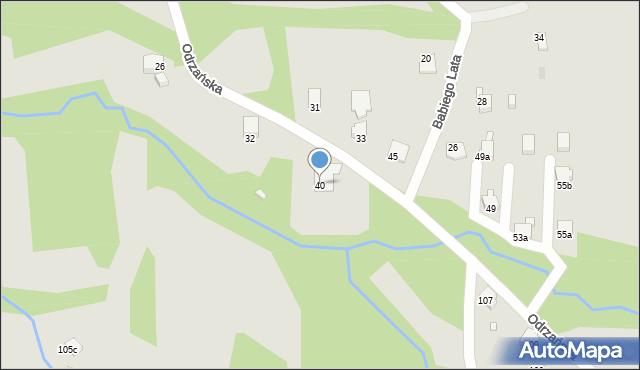 Bielsko-Biała, Odrzańska, 40, mapa Bielsko-Białej