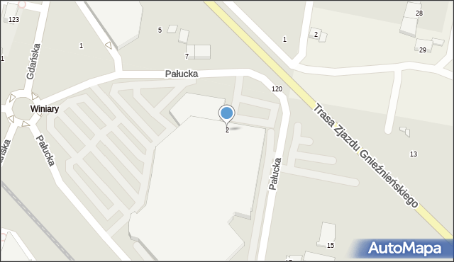 Gniezno, Pałucka, 2, mapa Gniezna
