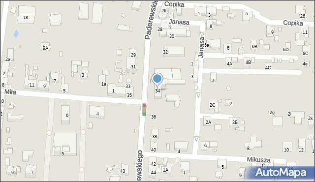 Zabrze, Paderewskiego Ignacego Jana, 34, mapa Zabrza