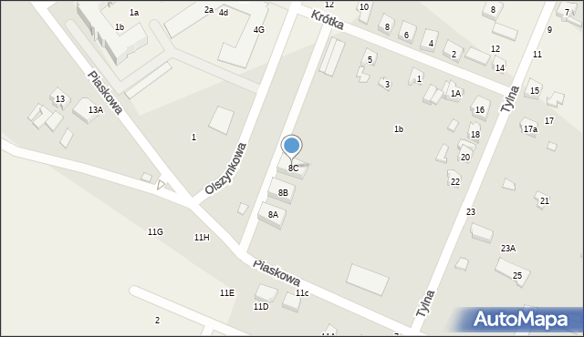 Krosno, Piaskowa, 8C, mapa Krosna