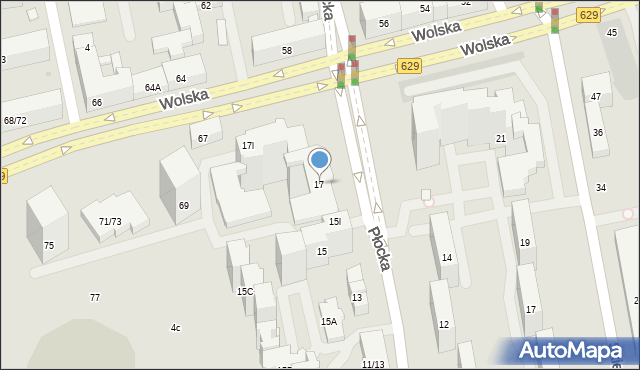 Warszawa, Płocka, 17, mapa Warszawy