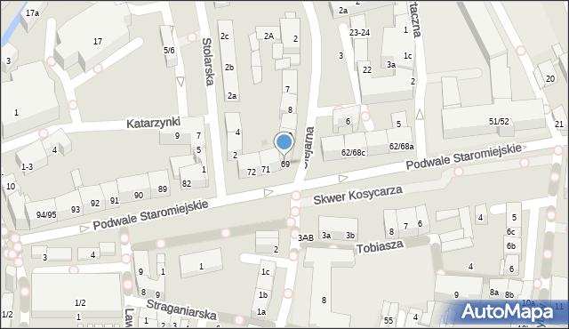 Gdańsk, Podwale Staromiejskie, 69, mapa Gdańska