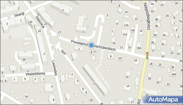 Krosno, Powstańców Warszawskich, 4, mapa Krosna