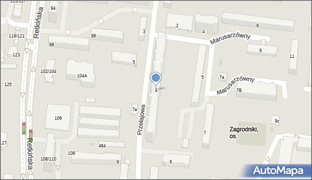 Łódź, Przełajowa, 4, mapa Łodzi