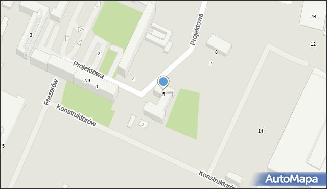 Lublin, Projektowa, 5, mapa Lublina
