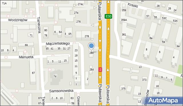 Warszawa, Puławska, 280, mapa Warszawy