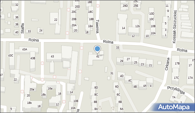 Katowice, Rolna, 41, mapa Katowic