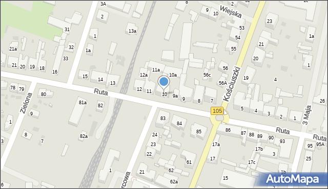 Gryfice, Ruta Stanisława, ks., 10, mapa Gryfice