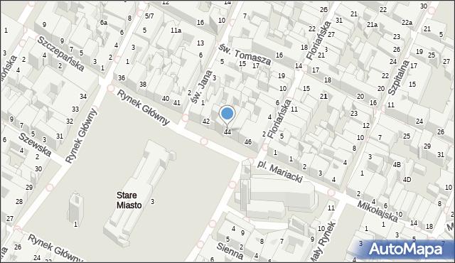 Kraków, Rynek Główny, 44, mapa Krakowa