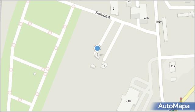 Poznań, Samotna, 1, mapa Poznania