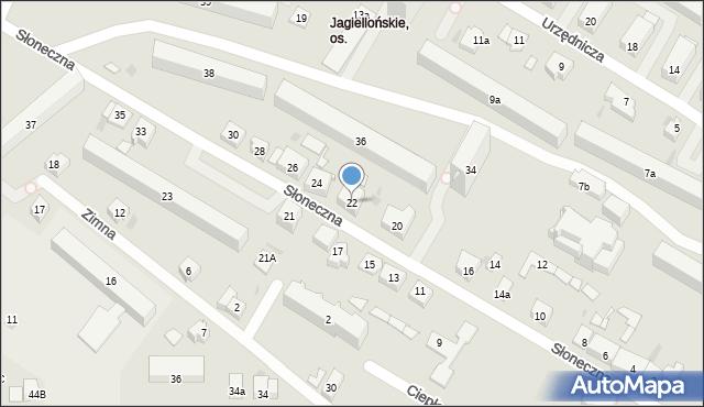 Kielce, Słoneczna, 22, mapa Kielc