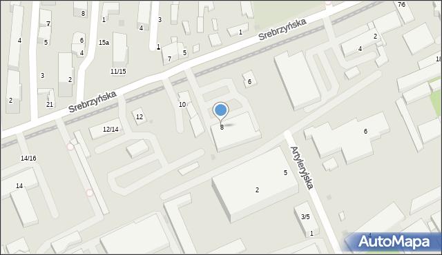Łódź, Srebrzyńska, 8, mapa Łodzi