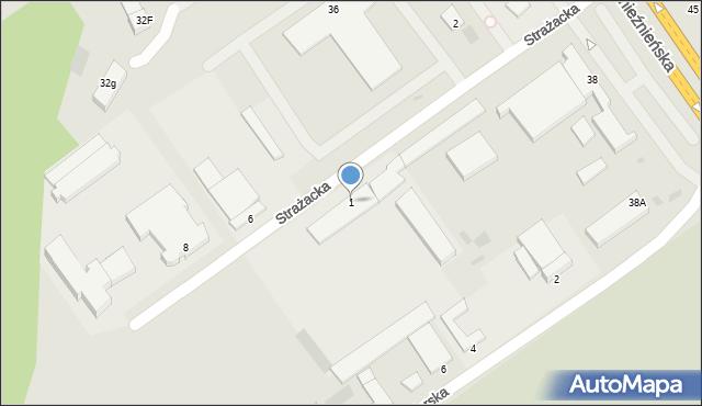 Koszalin, Strażacka, 1, mapa Koszalina