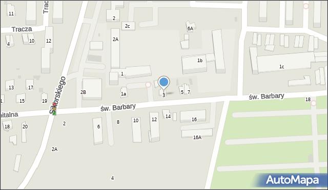 Tarnobrzeg, św. Barbary, 3, mapa Tarnobrzegu