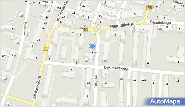 Tarnobrzeg, Targowa, 2, mapa Tarnobrzegu