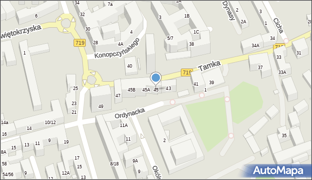 Warszawa, Tamka, 45, mapa Warszawy