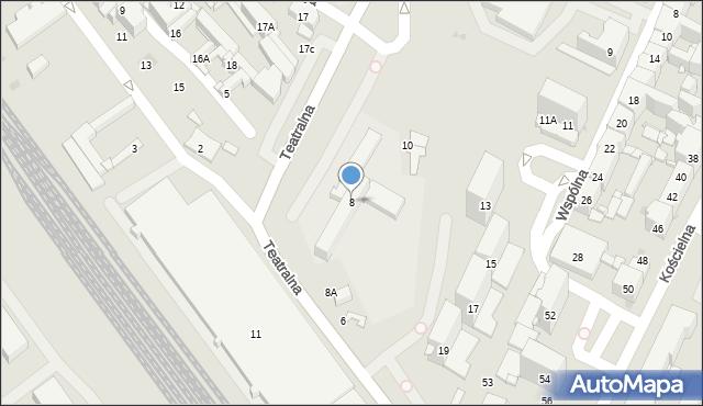 Sosnowiec, Teatralna, 8, mapa Sosnowca