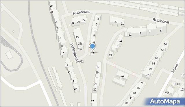 Szczecin, Turkusowa, 15, mapa Szczecina