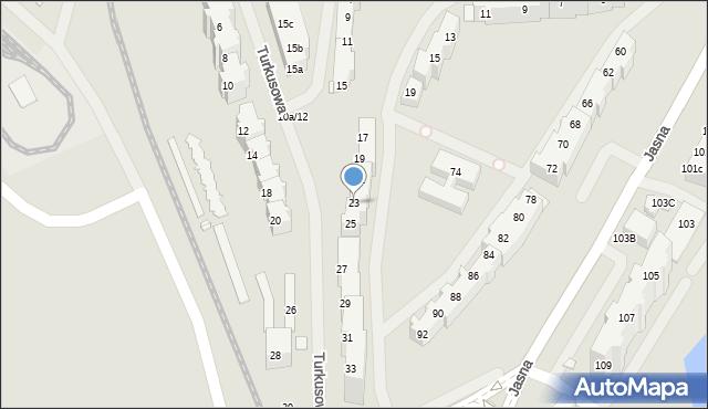 Szczecin, Turkusowa, 23, mapa Szczecina