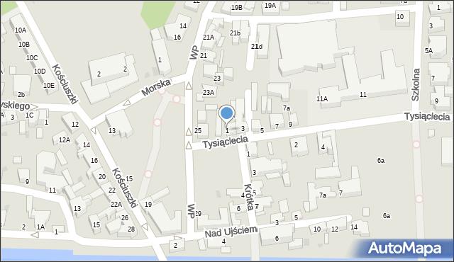 Łeba, Tysiąclecia, 1, mapa Łeba