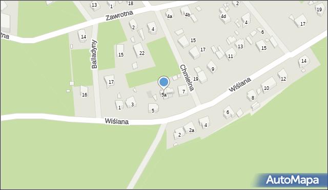 Szczecin, Wiślana, 5a, mapa Szczecina