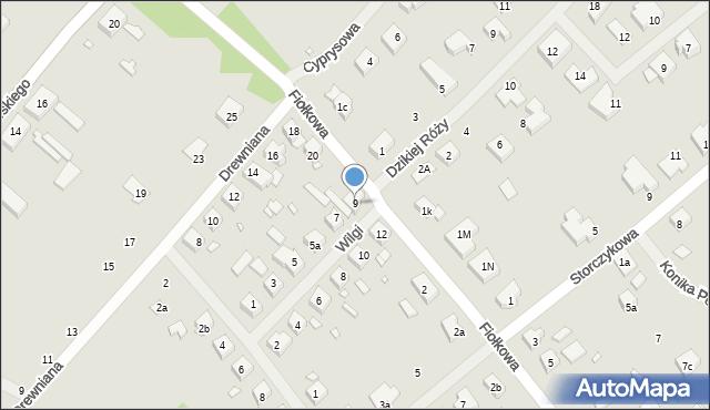 Szczecin, Wilgi, 9, mapa Szczecina