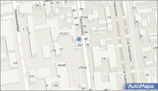 Łódź, Wólczańska, 175, mapa Łodzi