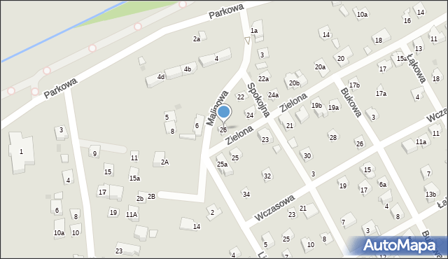 Myślenice, Zielona, 26, mapa Myślenice