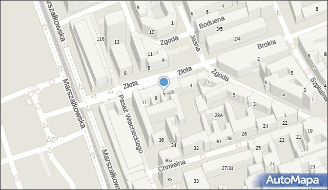 Warszawa, Złota, 7, mapa Warszawy