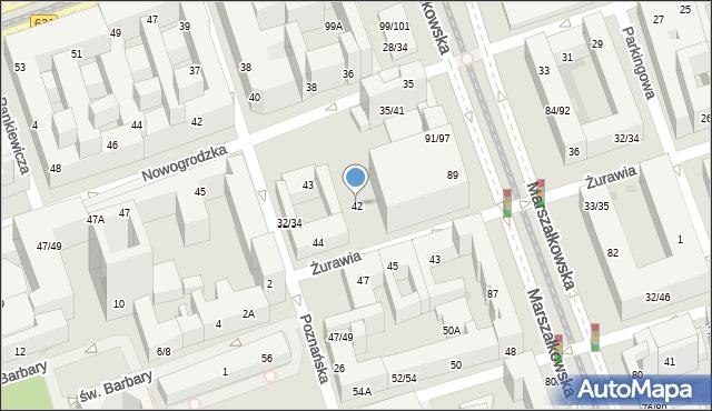 Warszawa, Żurawia, 42, mapa Warszawy
