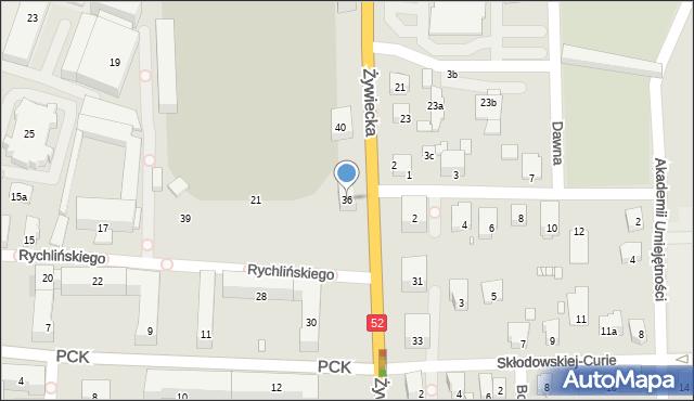 Bielsko-Biała, Żywiecka, 36, mapa Bielsko-Białej
