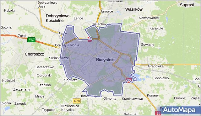 gmina Białystok - powiat Białystok na mapie Targeo