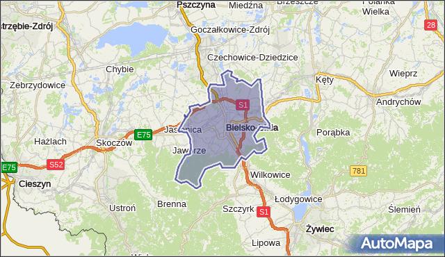 gmina Bielsko-Biała - powiat Bielsko-Biała na mapie Targeo