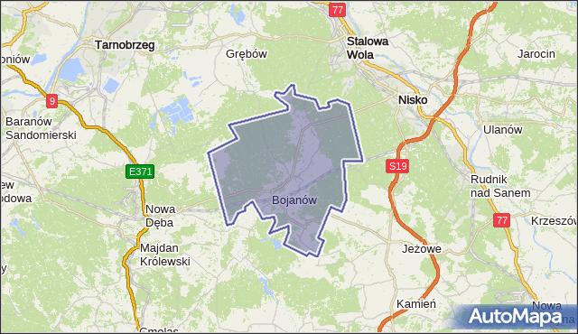 gmina Bojanów - powiat stalowowolski na mapie Targeo