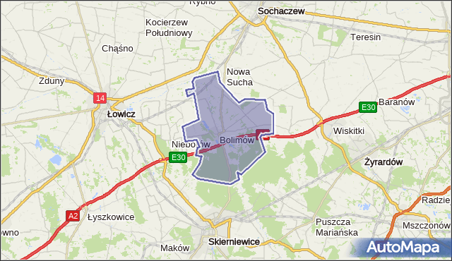 gmina Bolimów - powiat skierniewicki na mapie Targeo