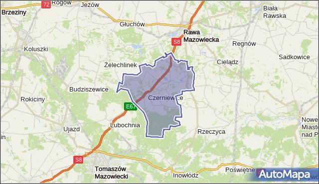 gmina Czerniewice - powiat tomaszowski na mapie Targeo