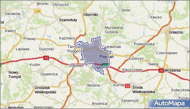gmina Poznań - powiat Poznań na mapie Targeo